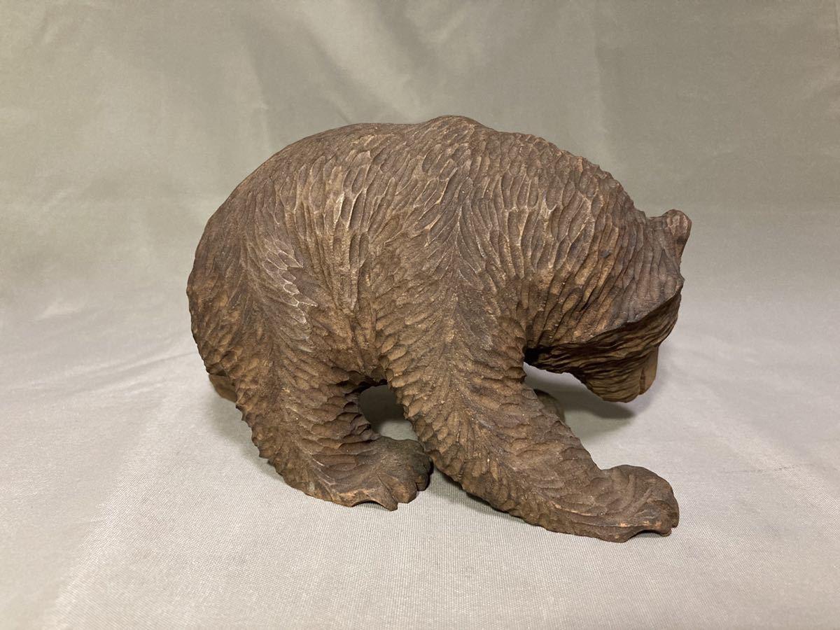 北海道 古い 木彫りの熊 ガラス目 一刀彫 木彫り 木彫 熊 くま クマ アイヌ 古作 細密 彫刻 農民美術 郷土玩具 民芸 工芸 人形 昭和レトロ_画像6