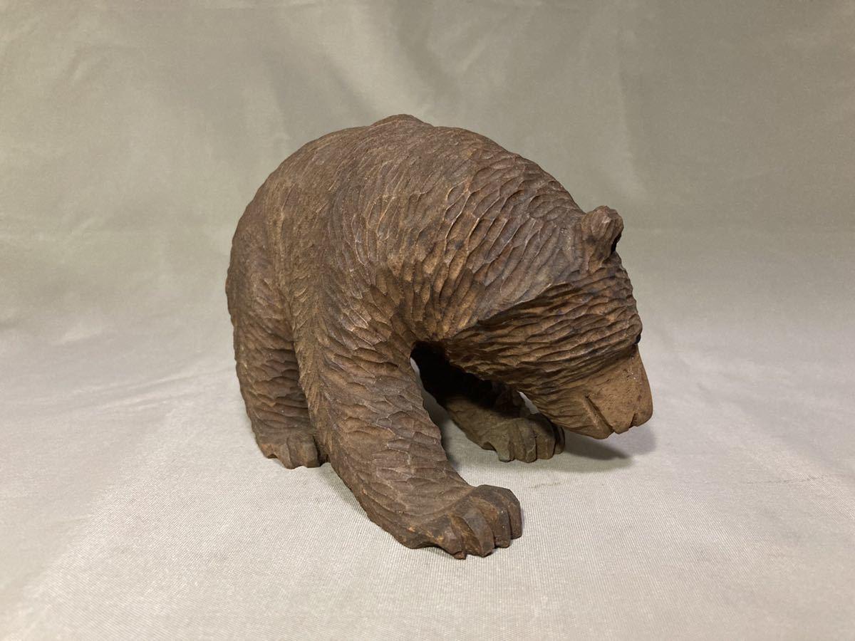 北海道 古い 木彫りの熊 ガラス目 一刀彫 木彫り 木彫 熊 くま クマ アイヌ 古作 細密 彫刻 農民美術 郷土玩具 民芸 工芸 人形 昭和レトロ_画像7