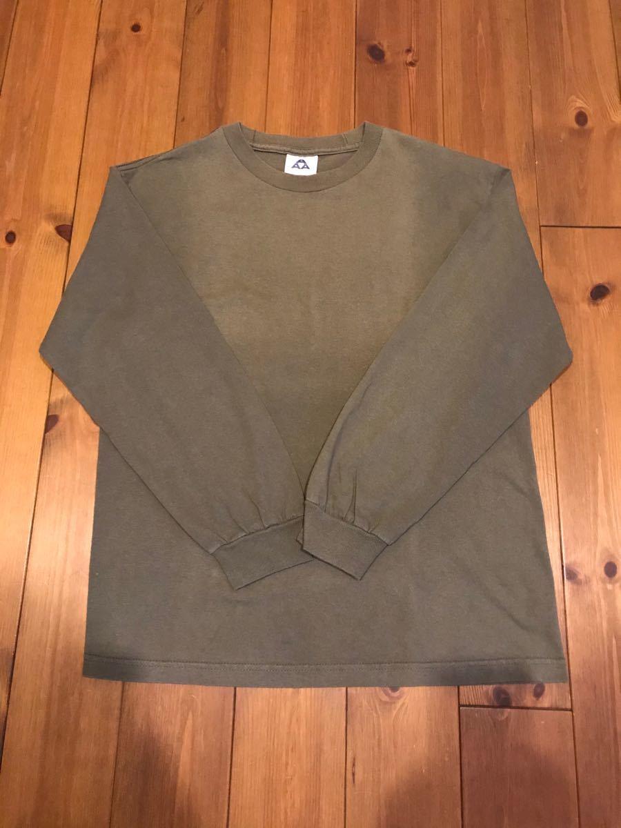 ロングスリーブTシャツ 無地 オリーブ色 ロンT シンプル