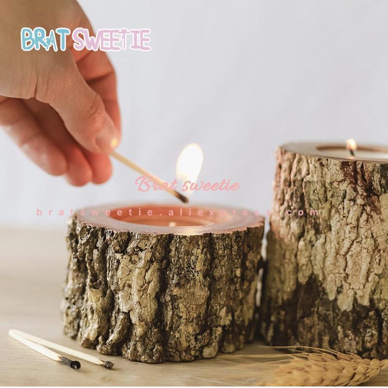 木製燭台素朴な結婚式のセンターピースの結婚式のテーブルデコレーションラマダンパーティー天然木キャンドルホルダースタンド_画像1