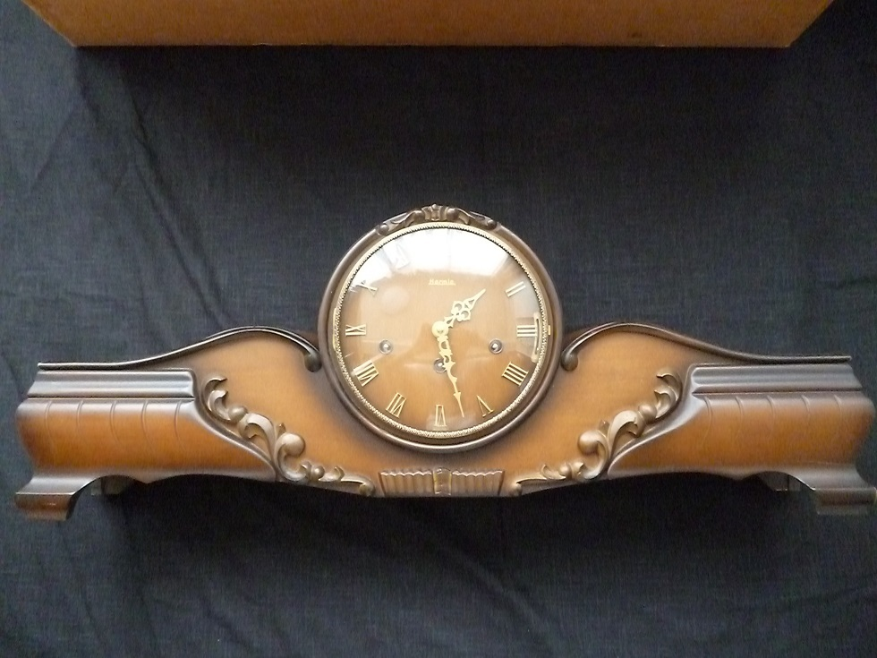 Hermle ヘルムレ ドイツ製 ゼンマイ式木製置時計 可動品 アンティーク 機械式 ウエストミンスター
