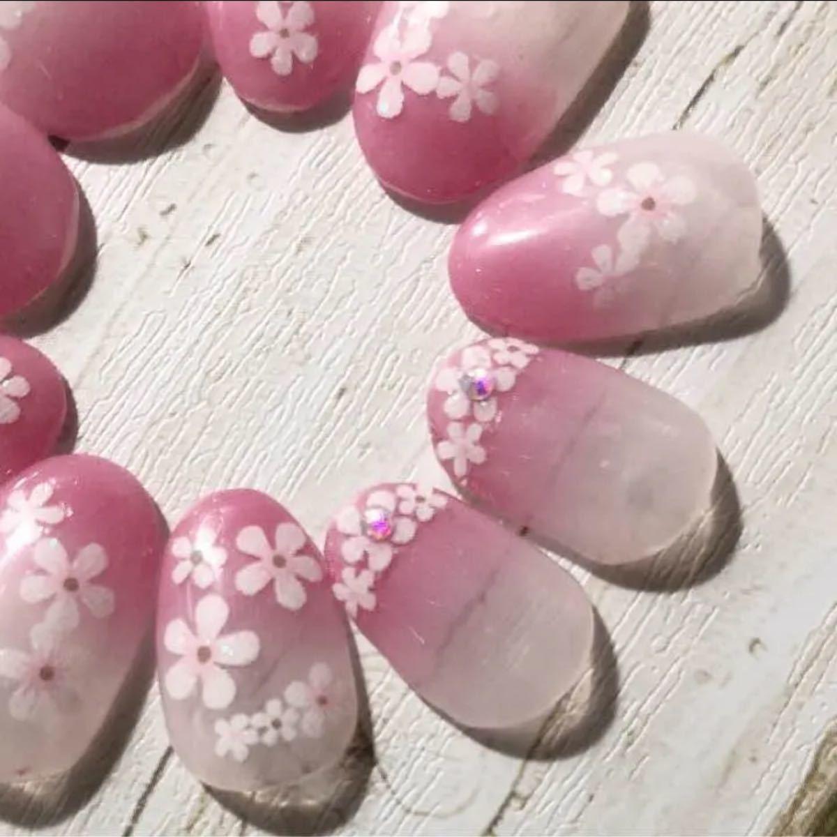 ピンクグラデーションのお花たち ジェルネイル