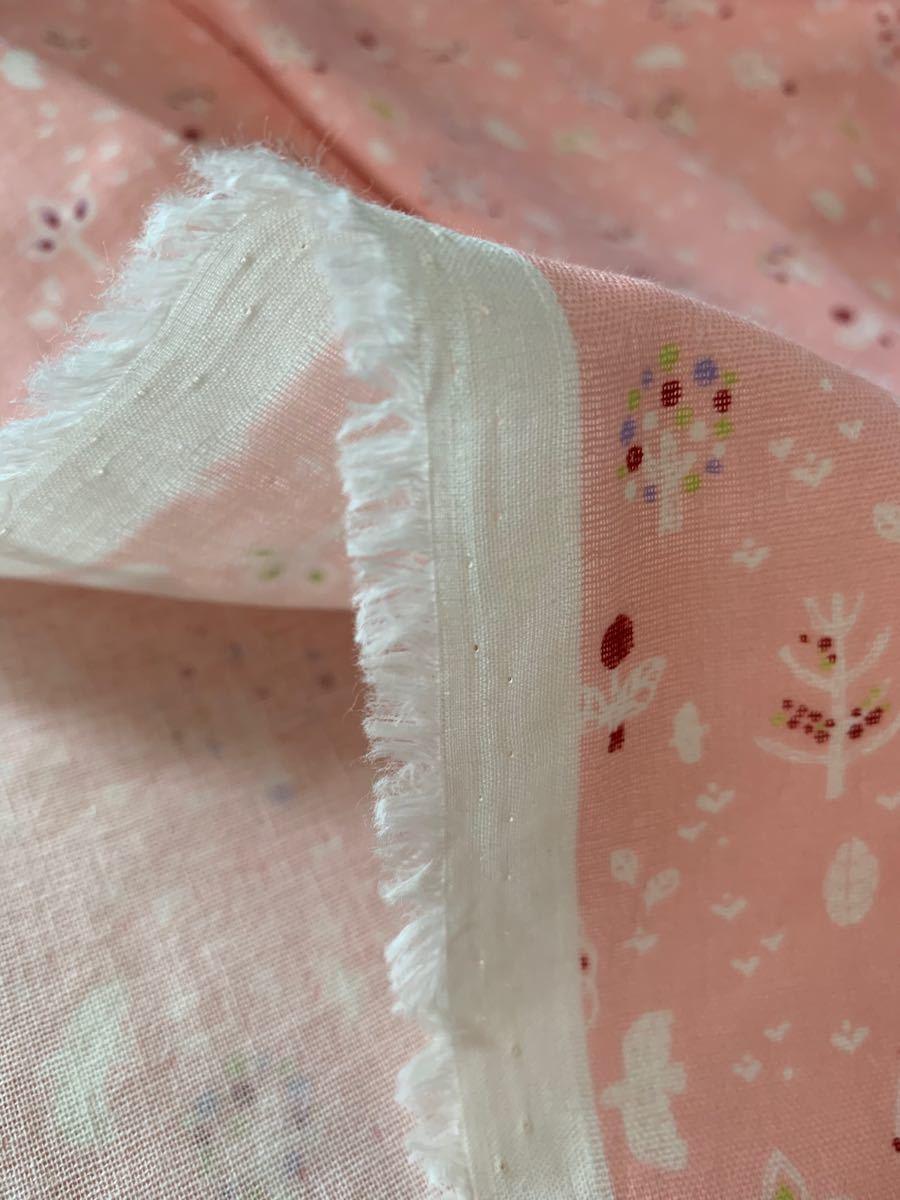 ダブルガーゼ 小鳥さんとツリー柄 ピンク 生地巾×50センチ生地