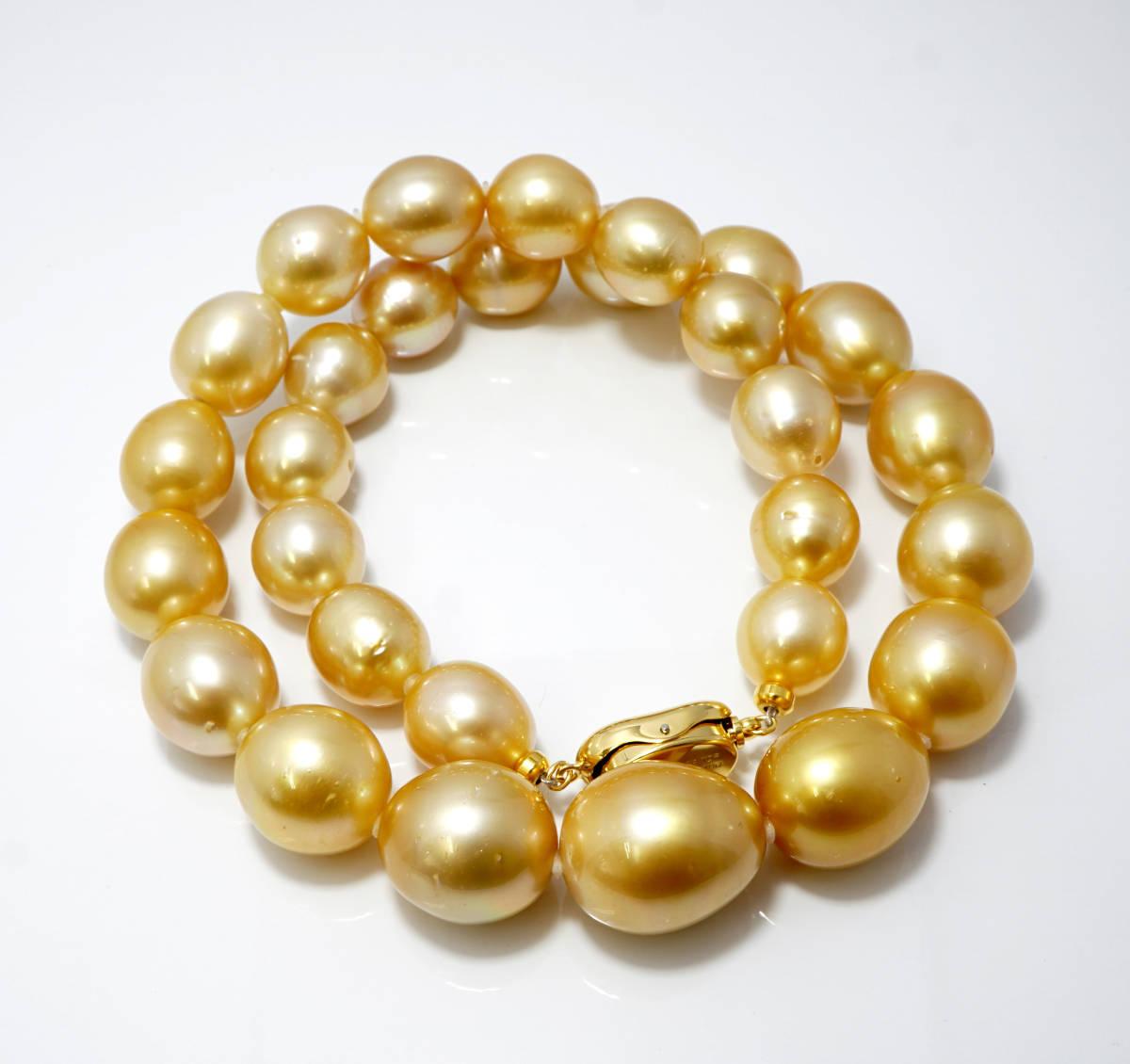 ●新品自家製作 天然南洋白蝶パール 照り最高 大珠 15.4mm ゴールド 44cm SV jewelry ネックレス ジュエリー