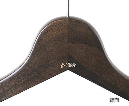 【ナカタハンガー】日本製 木製メンズ シャツハンガー 5本組 スモークブラウン SET-02(w:420)_画像5