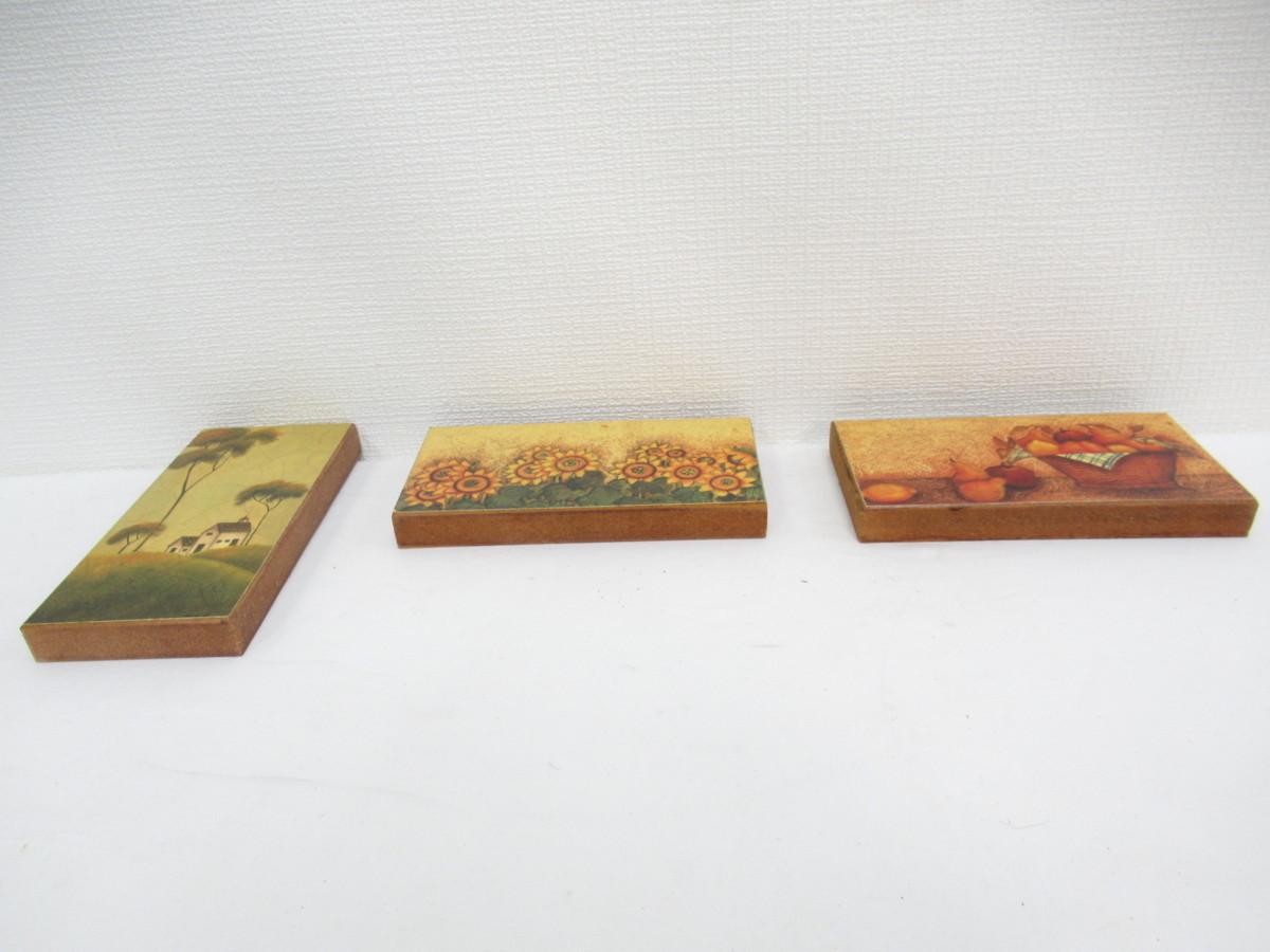 ★ 木製 ブロック デザイン 壁掛け 3点セット インテリア フルーツ ひまわり 風景 DIY 飾り アートパネル_画像6