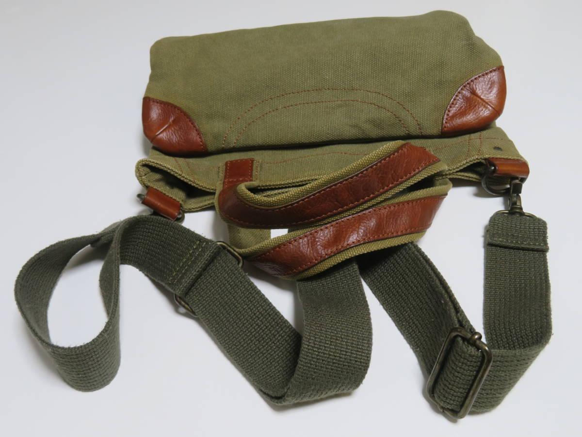 BOYCOTT ボイコット 本革・レザー仕様×キャンバス モスグリーン系色 ショルダーバッグ ハンドバッグ トートバッグ 鞄 ポーチ 1個