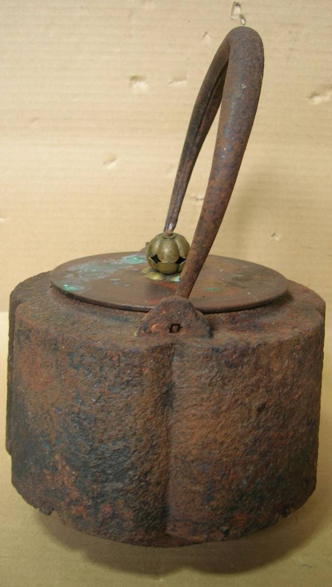 ◇旧家初だし!鉄瓶<33>龍文堂造 輪花 虫食い 銅蓋 茶道具_画像5