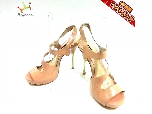デュラスアンビエント DURAS AMBIENT サンダル 37 1/2 エナメル(合皮) ベージュ レディース 靴