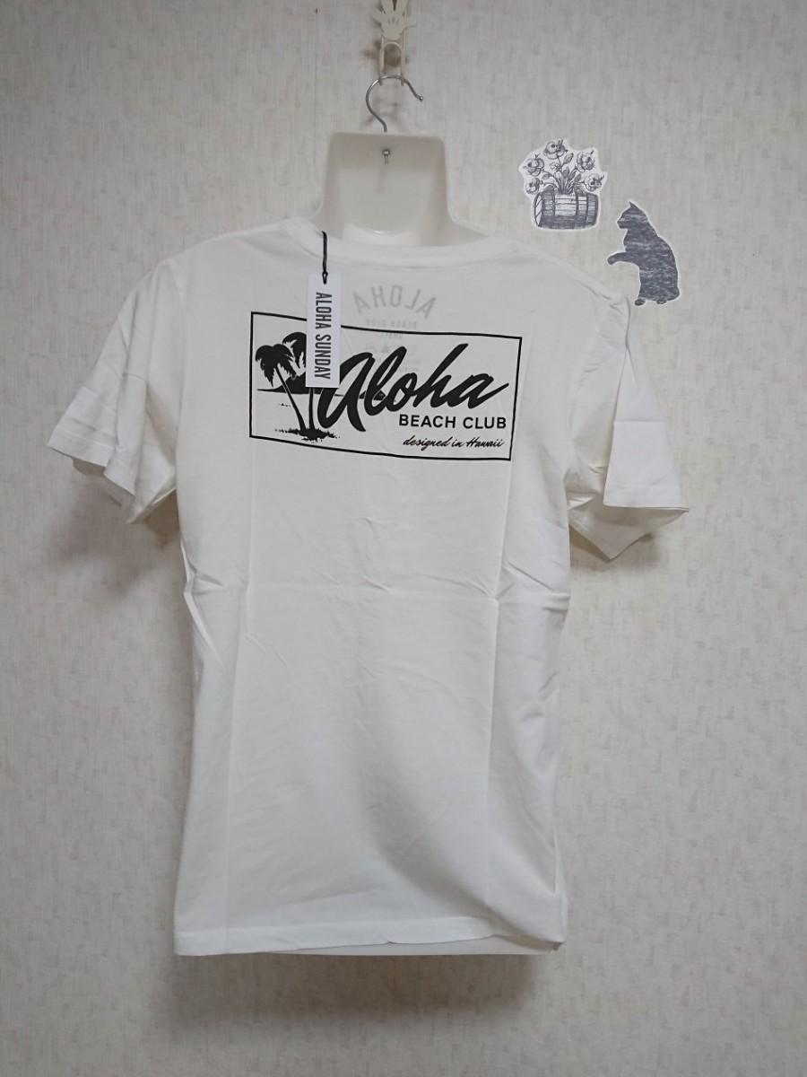 【S】ALOHA SUNDAY  ポイントロゴ&バックプリントTシャツ