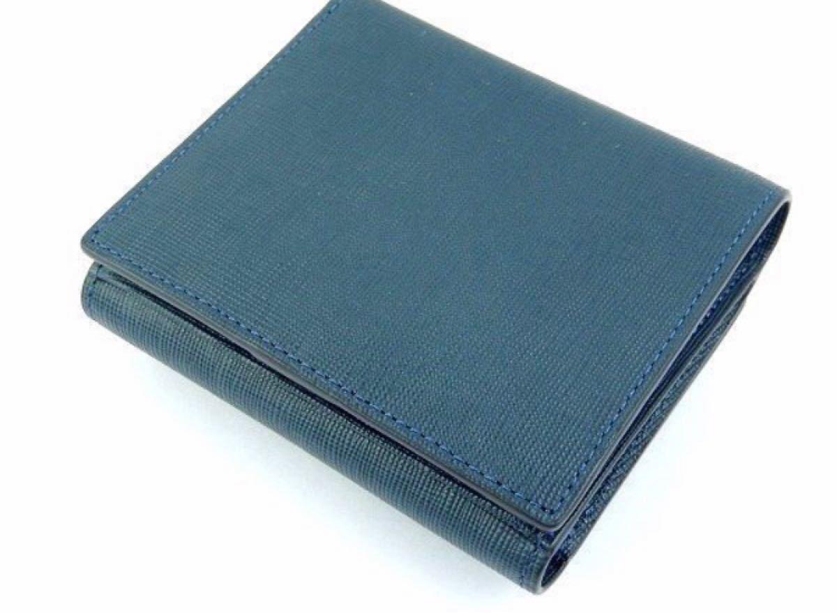 ヴィヴィアンウエストウッド 紺 ネイビー リボン 牛革 三つ折り財布