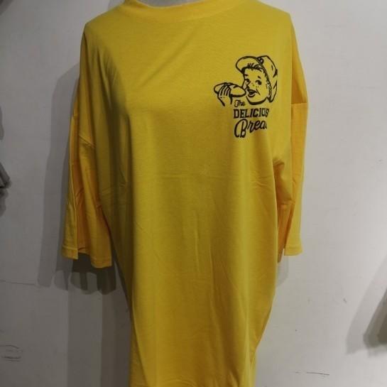 バックプリント ロゴ 夏限定 英字 イラスト Tシャツ オーバーサイズ 黄色