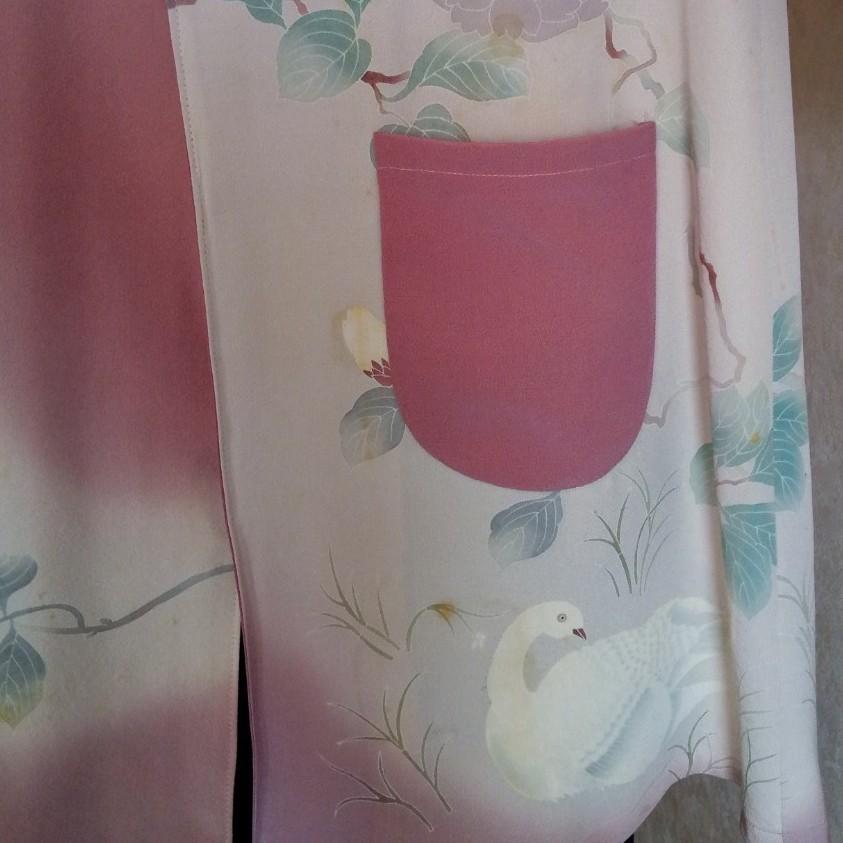 《着物リメイク》アンティーク 正絹友禅染/薄紫/芍薬柄 ノーカラージャケット
