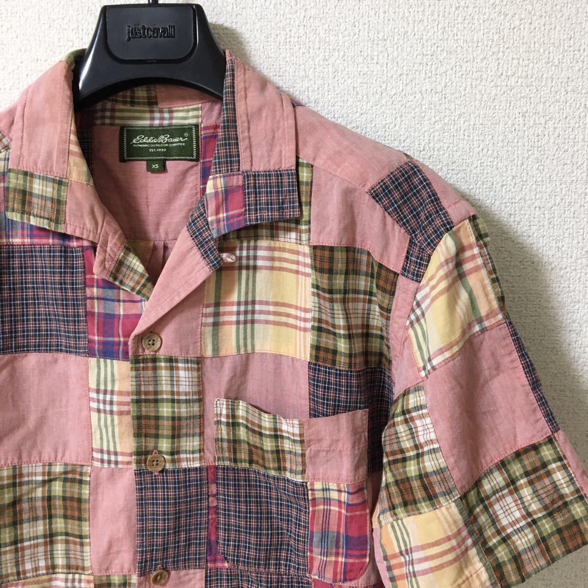 ◆エディーバウアー◆パッチワーク オープンカラー シャツ Eddie Bauer XS ピンク ネイビー カーキ 赤 イエロー チェック 開襟 シャンブレ