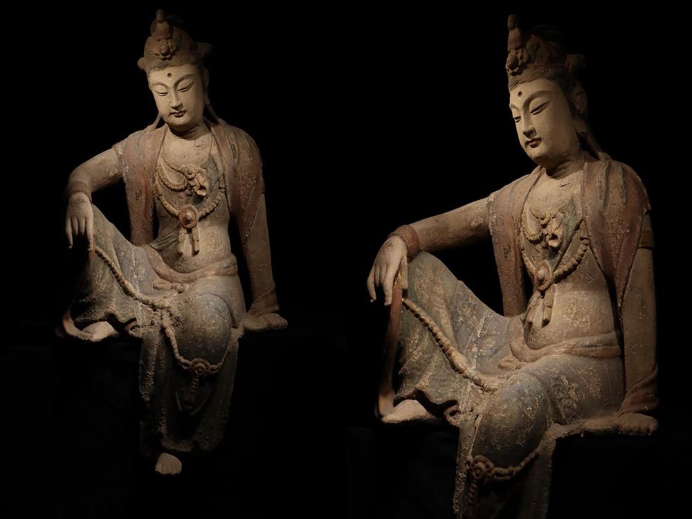 gx176▼仏教美術 時代物 楠木 自在観音 仏像 仏教 木彫 115x63センチ