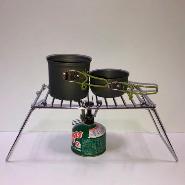 コンパクト BBQ グリル クッカー スタンド 焚き火 五徳 折畳み 収納 ラック ミニテーブル 即日発送