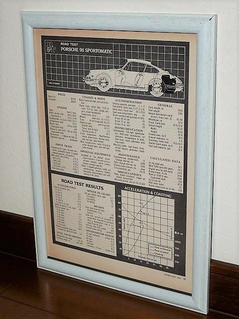 1968年 USA '60s 洋書雑誌記事 額装品 Porsche 911 Sportmatic ポルシェ スポルトマティック 諸元表 スペック表 ( A4サイズ )_画像1