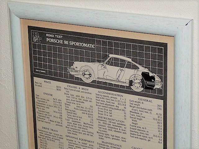 1968年 USA '60s 洋書雑誌記事 額装品 Porsche 911 Sportmatic ポルシェ スポルトマティック 諸元表 スペック表 ( A4サイズ )_画像2