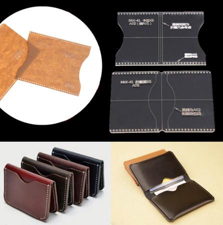 a0206 革財布ケーステンプレート 透明 アクリル 革パターン デザインテンプレート ステンシル diy 縫製クラフト レザークラフト ツール_画像1