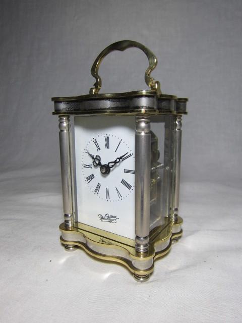 KI レトロ アンティーク 動作品 琺瑯文字盤 ゼンマイ式 イギリス製 置き時計