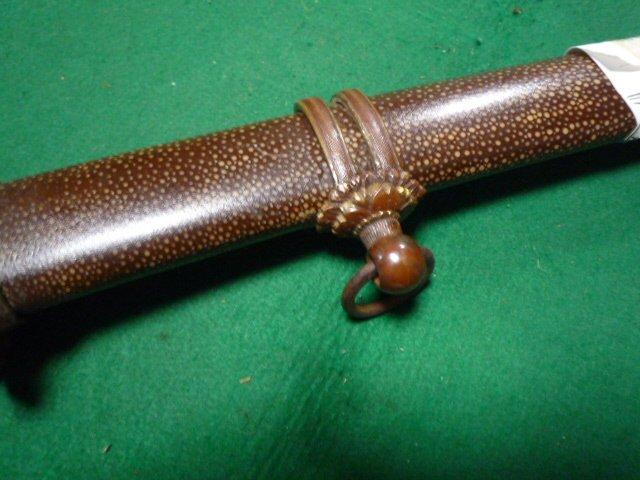 98式軍刀の拵え 鞘は鮫の研ぎ出し。無名。 短剣指揮刀_画像4