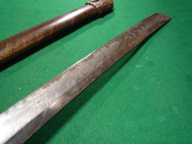 98式軍刀の拵え 鞘は鮫の研ぎ出し。無名。 短剣指揮刀_画像9