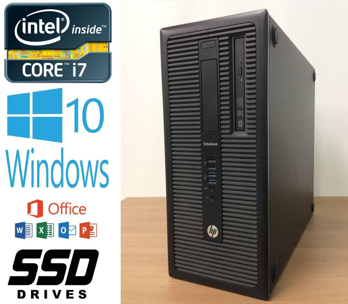 D7F2★超高速 i7★EliteDesk 800 G1 TWR [ Core i7-4770 / 32G / 新品SSD 1TB + HDD 2TB / WIFI / DVD / Win10 PRO / MS Office 2019 ]