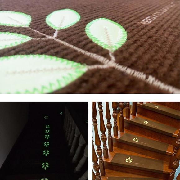 階段マット 15枚セット 滑り止め 蓄光式 足冷え 防音対策 水洗い 滑り防止 キズ防止 DESIGN A ベージュ_画像4