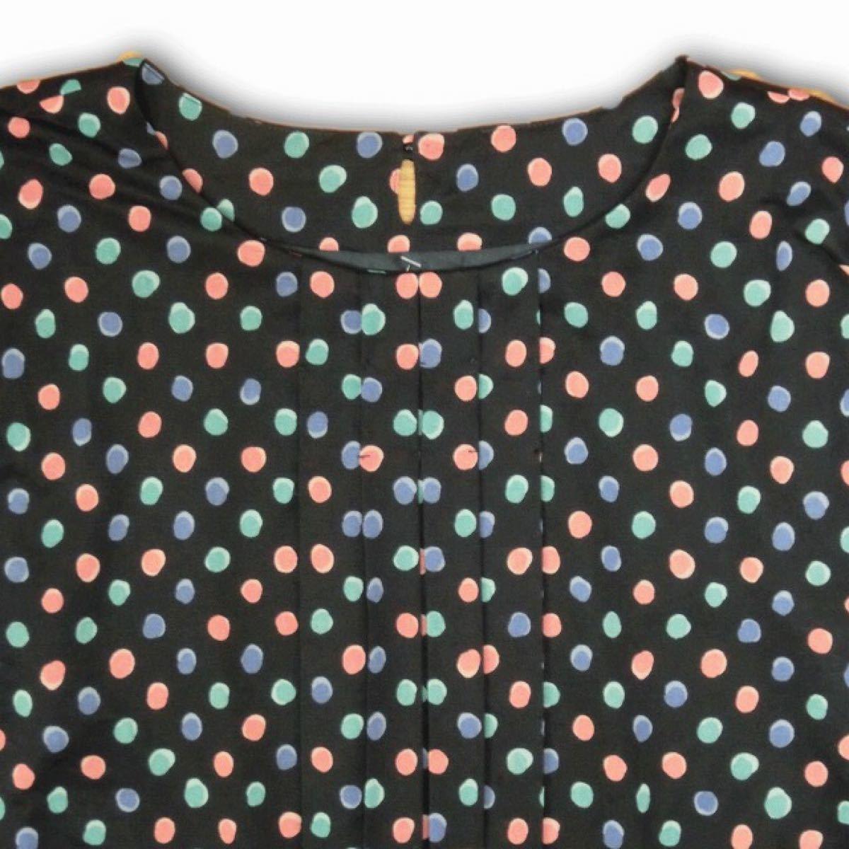 レトロ 古着  ワンピース 半袖 かわいい ポップ ドット柄 ひざ丈 2-73