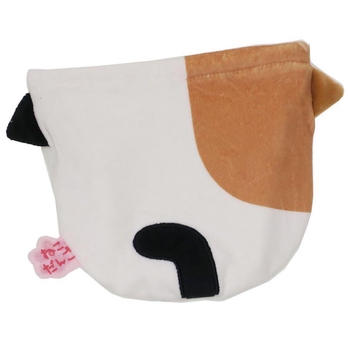 猫 巾着 マシュマロポーチ 白 猫 小物入れ