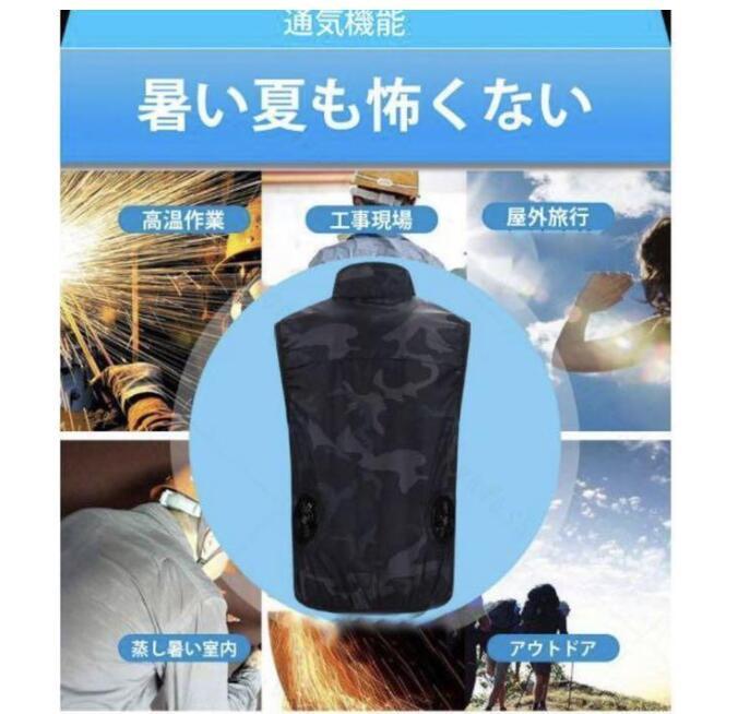 2020最新式 新発売空調服 熱中症対策 ベスト/空調風神服ファッション メンズ 酷暑 夏用 ファン バッテリーセット作業服サイズ選択_画像7