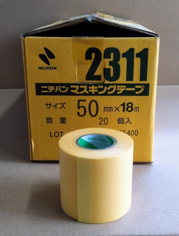 ニチバン マスキングテープ #2311 50mmx18m 1巻よりバラ販売 送料¥220~ 黄色いテープ_画像1