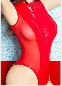 K000176最新作! 超セクシー 光沢 フェイクレザー&メッシュ 切り替えデザイン ハイレグレオタード コスプレ コスチューム 赤_画像2