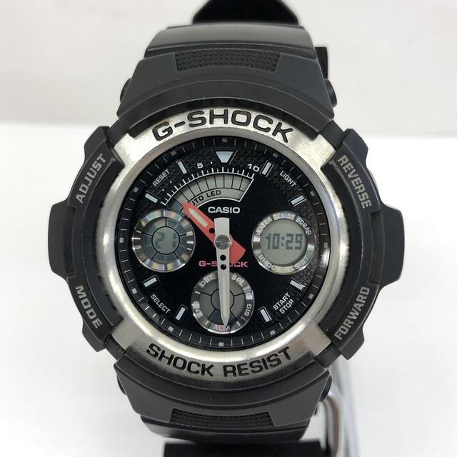 中古 G-SHOCK ジーショック CASIO カシオ 腕時計 AW-590 アナデジ デジアナ ラウンドフェイス コンビネーションモデル ブラック RY3071_画像1