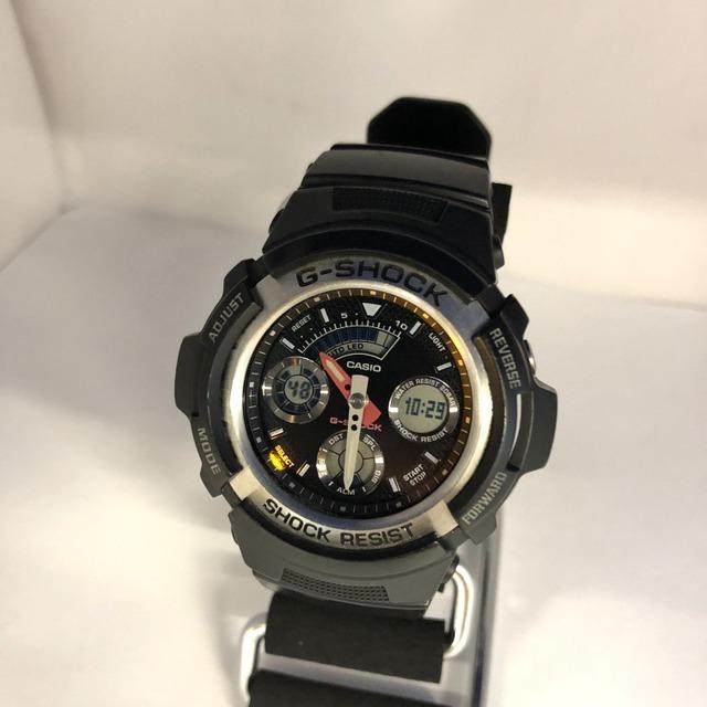 中古 G-SHOCK ジーショック CASIO カシオ 腕時計 AW-590 アナデジ デジアナ ラウンドフェイス コンビネーションモデル ブラック RY3071_画像2