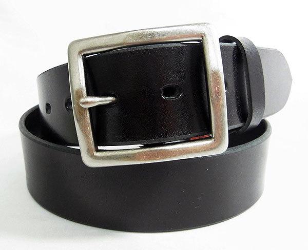 高級 栃木レザー 日本製 牛革メンズシンプルレザーベルト ブラック 栃木BK