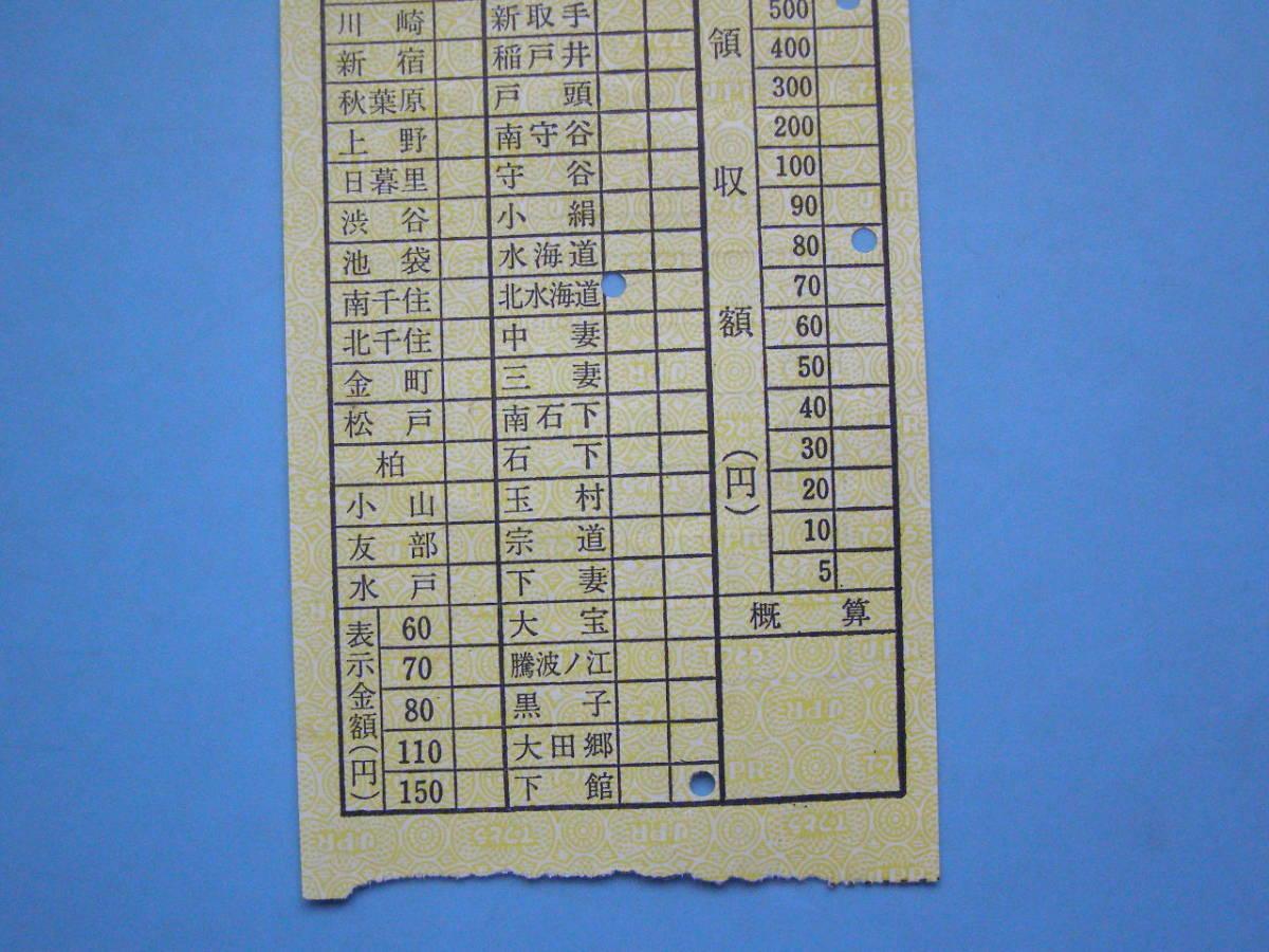 切符 鉄道切符 軟券 乗車券 関東鉄道 車内補充券 水海道車掌区乗務員発行 車内乗車券 (J22) _画像3