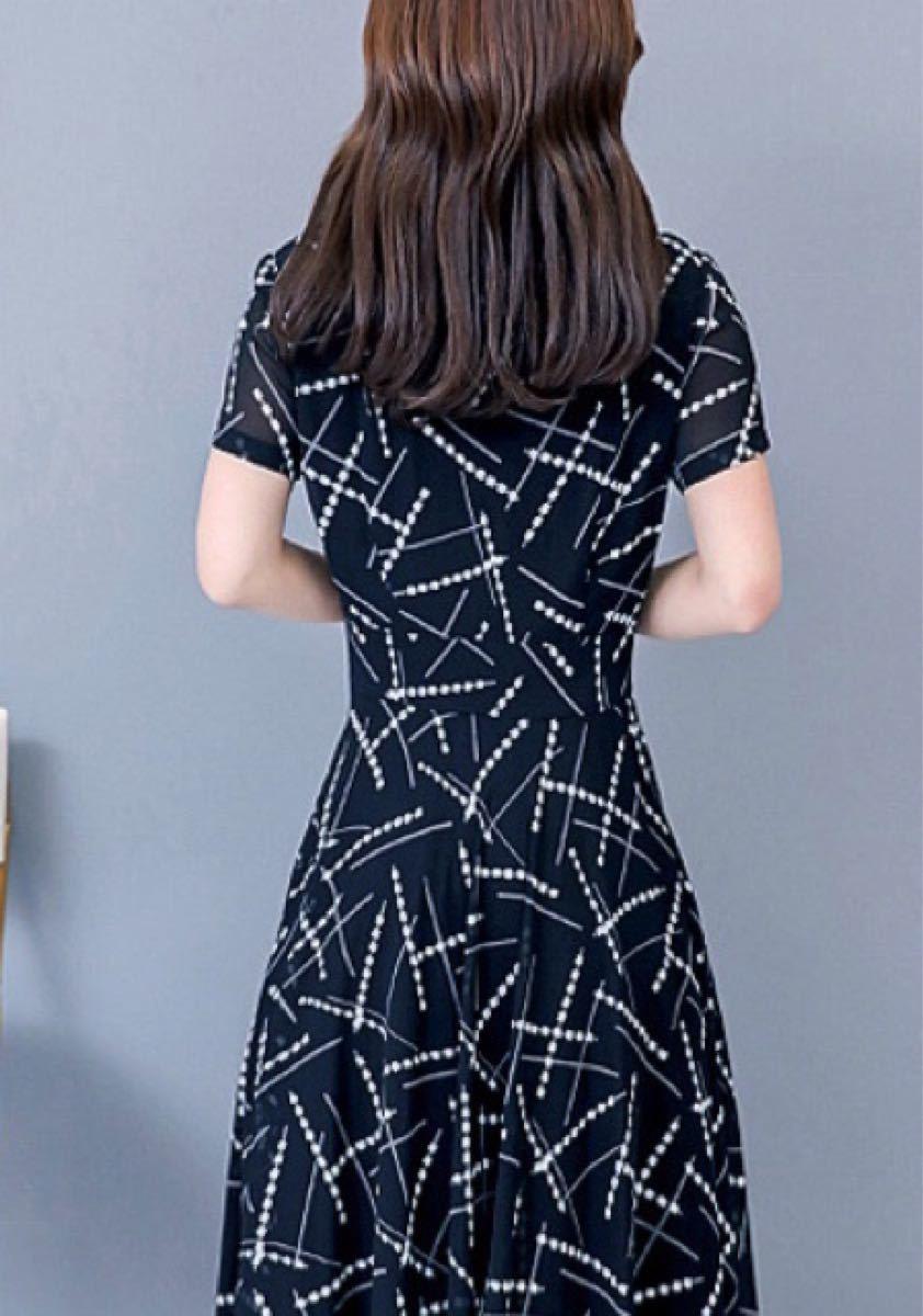 ワンピース【人気】ひざ丈 上品 オルチャン Aライン 韓国 ブラック 夏 半袖