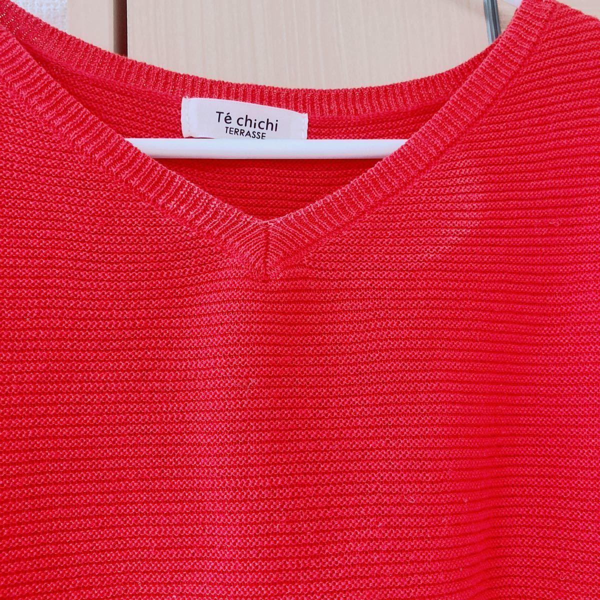 テチチテラス半袖ニット サマーニット トップス 赤 レッドフリーサイズ