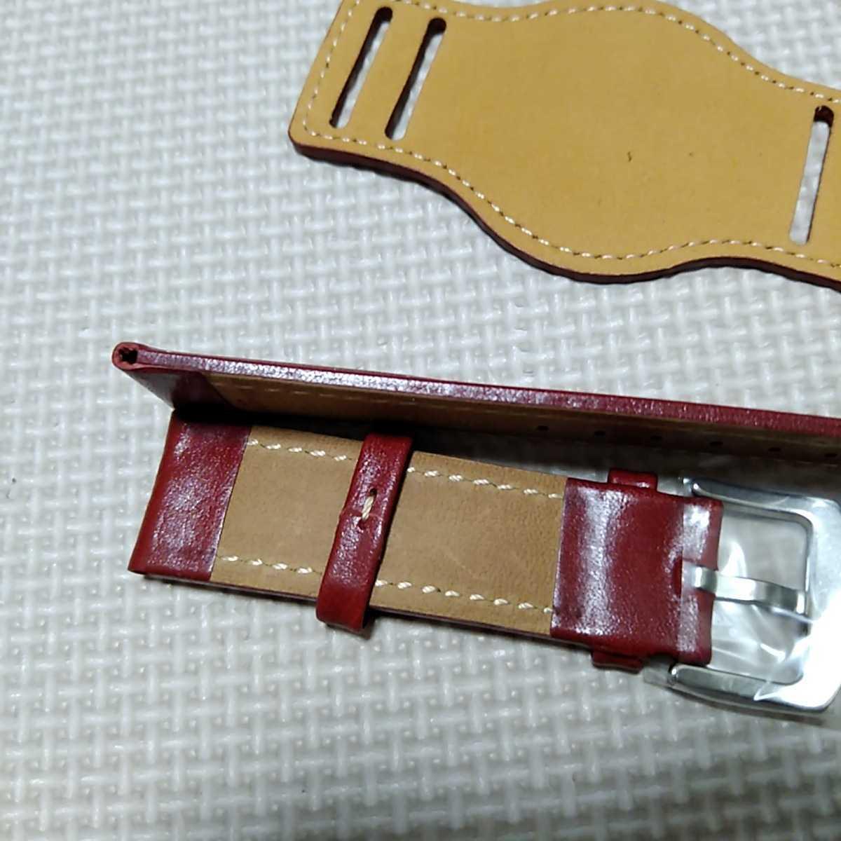 No33 ブンド BUND 本革レザーベルト 腕時計ベルト 交換用ストラップ レッド 22mm 未使用 送料無料 高品質 ドイツパイロット 空軍_画像3