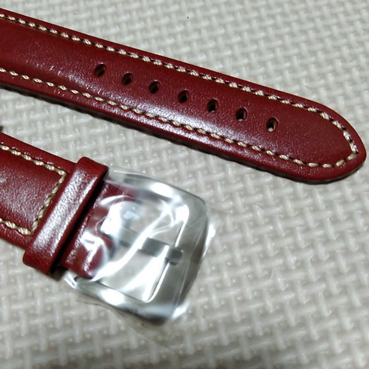 No33 ブンド BUND 本革レザーベルト 腕時計ベルト 交換用ストラップ レッド 22mm 未使用 送料無料 高品質 ドイツパイロット 空軍_画像5