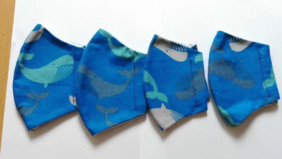マスク インナー 立体 ハンドメイド 4枚 クジラ