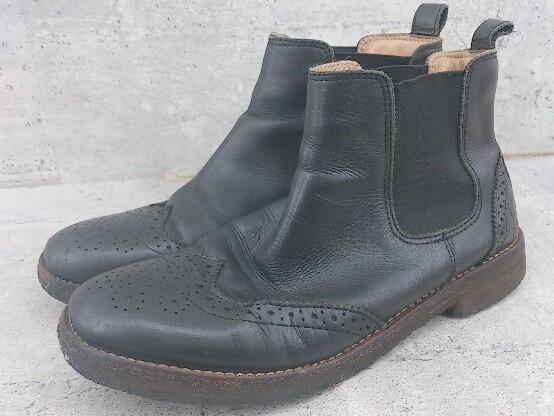 ◇ YOSUKE ヨースケ サイドゴア ウイングチップ ショート ブーツ 23.5 ブラック レディース_画像1