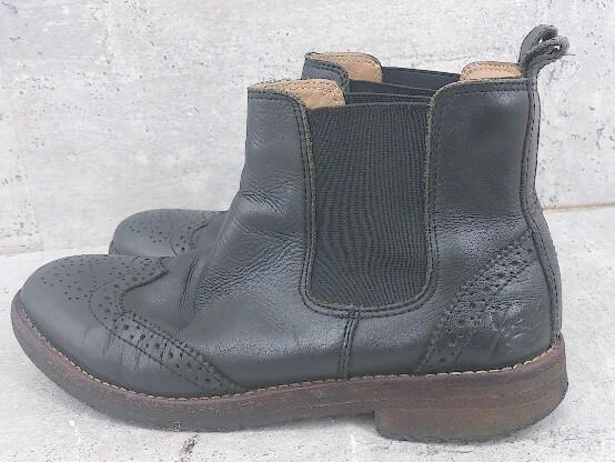 ◇ YOSUKE ヨースケ サイドゴア ウイングチップ ショート ブーツ 23.5 ブラック レディース_画像2