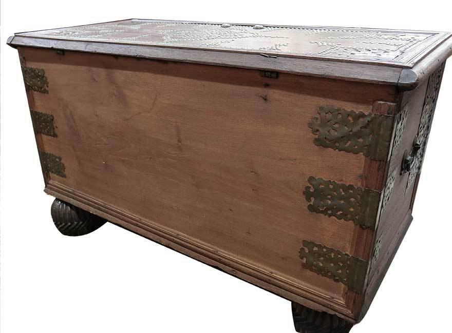アンティーク アフリカ美術 木製鋲 コファー 箱 王侯酋長調度品 z-056_画像6