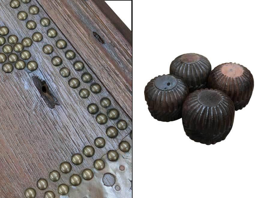 アンティーク アフリカ美術 木製鋲 コファー 箱 王侯酋長調度品 z-056_画像10