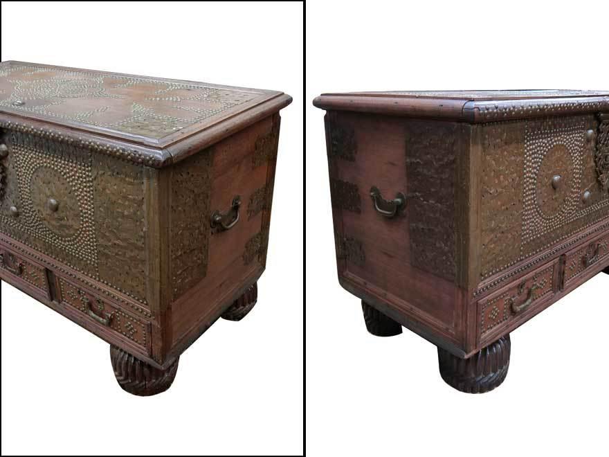 アンティーク アフリカ美術 木製鋲 コファー 箱 王侯酋長調度品 z-056_画像5