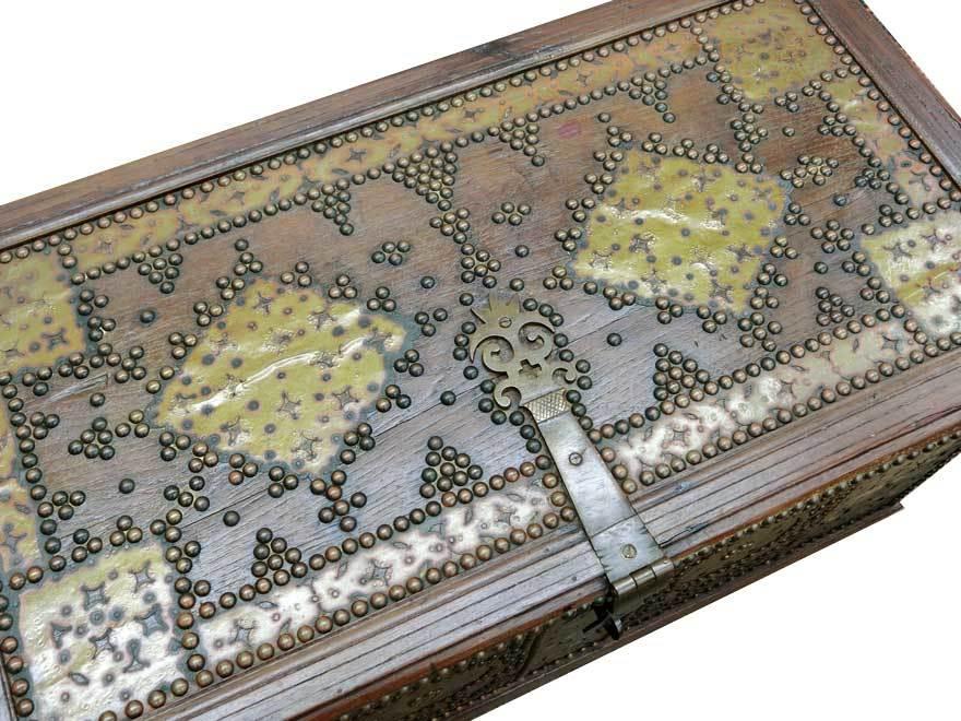 アンティーク アフリカ美術 木製鋲 コファー 箱 王侯酋長調度品  z-057_画像6