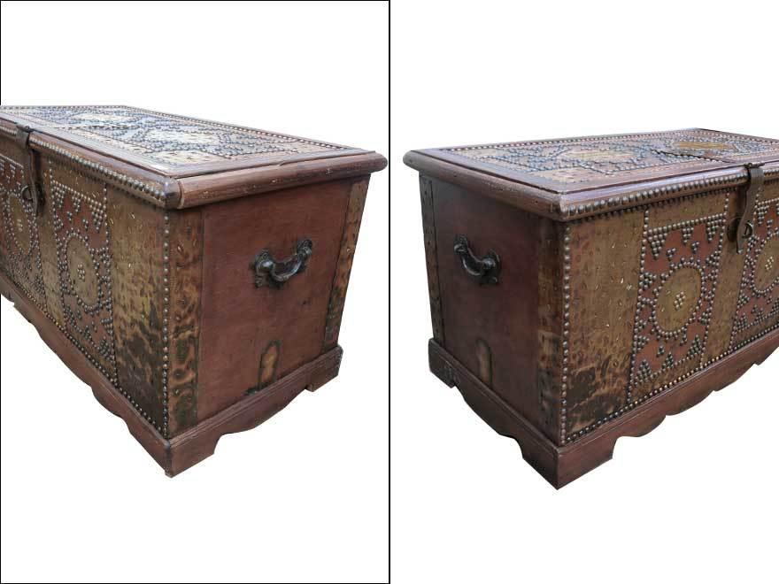 アンティーク アフリカ美術 木製鋲 コファー 箱 王侯酋長調度品  z-057_画像5
