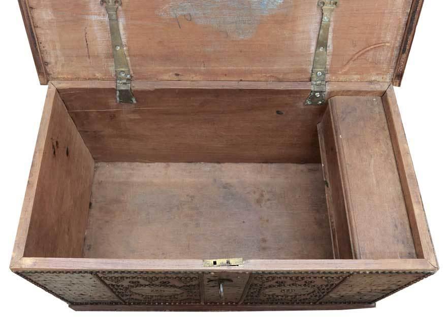 アンティーク アフリカ美術 木製鋲 コファー 箱 王侯酋長調度品  z-057_画像7